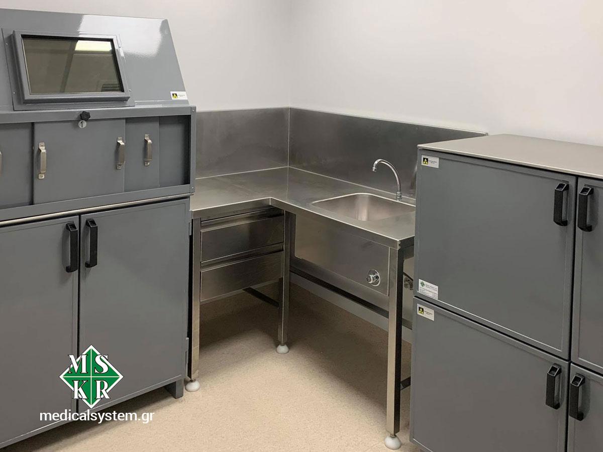 Ο χώρος του hot lab μετά την εγκατάσταση του εξοπλισμού από τους ανθρώπους της Medical Systems