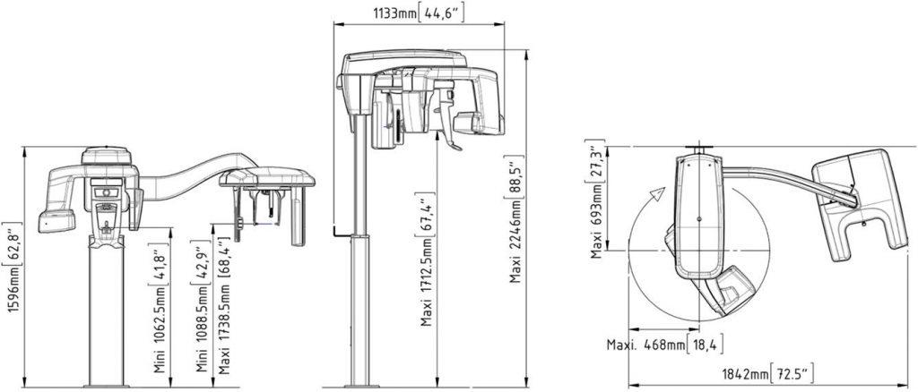 Διαστάσεις συστήματος με κεφαλομετρικό